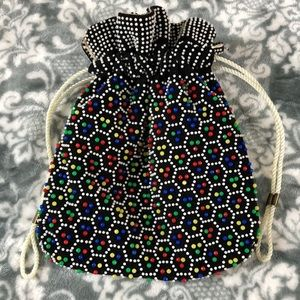VTG Hand Made Reversible Colorful Beaded Purse